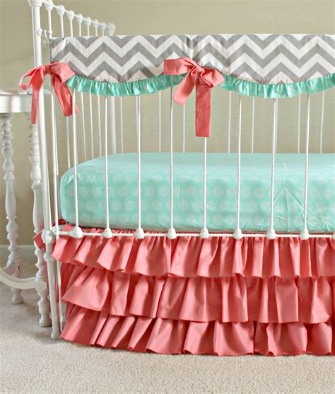 coral and mint crib bedding bumperless sweet sorbet baby bedding lottie da baby
