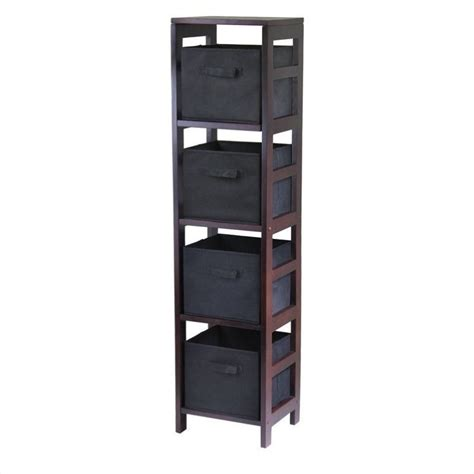 Shelf Section by 4 Section Storage Shelf With 4 Foldable Black Baskets 92241