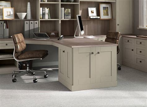 2 Person Work Desk by Verona Fitted Home Office In Driftwood By Strachan
