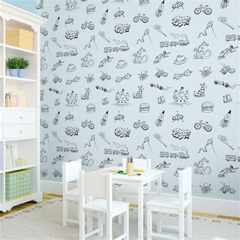 Half Bathroom Designs by Doodle Blue And Black Peel Amp Stick Wallpaper