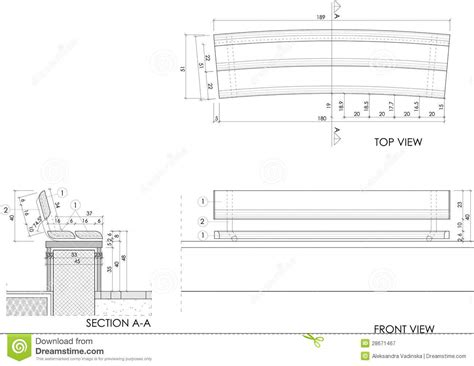 wood bench detail wooden bench drawing royalty free stock photography