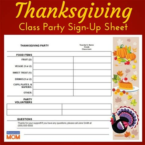College Letter Sign Up thanksgiving classroom sign up sheet homeroom