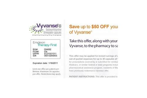 vyvanse coupon card 30 day trial