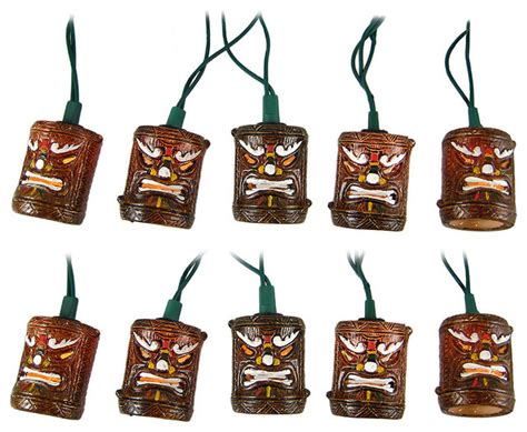 Tiki Patio Lights Friki Tiki 10 Tiki Style Patio String Light Set Contemporary Outdoor Lighting By Zeckos