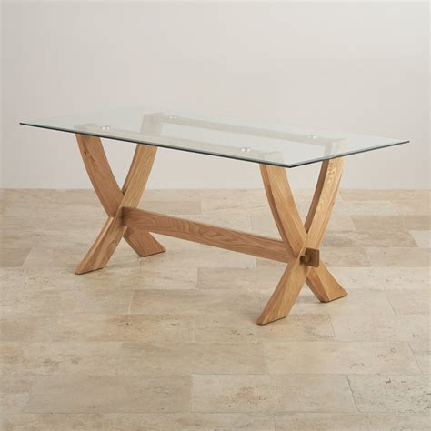 Crossed Leg Dining Table Reflection Crossed Leg Dining Table With Glass Top In Solid Oak