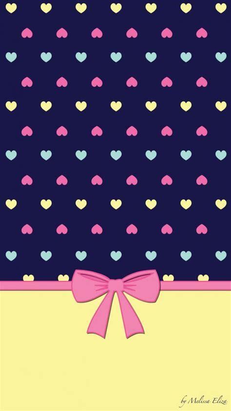 wallpaper with pink bows spring heart and rainbows on pinterest