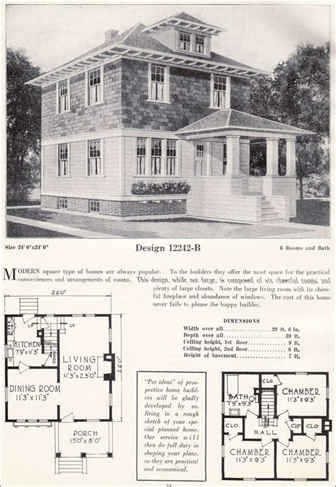 four square home plans american foursquare pyramidal roof c 1923 c l