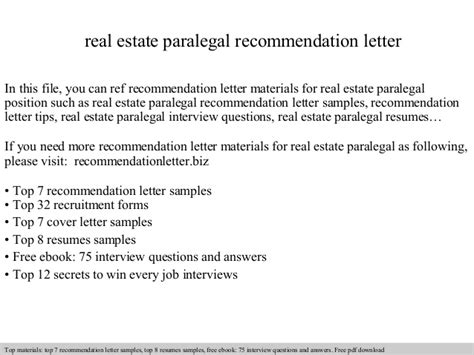 Letter Of Recommendation Paralegal real estate paralegal recommendation letter