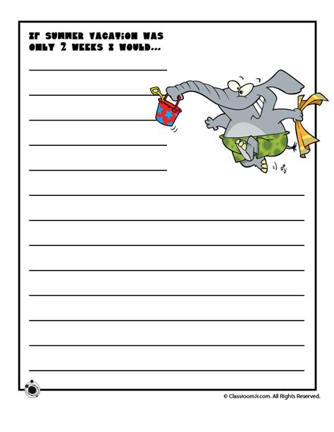 printable writing worksheets for year 2 creative writing idea quot if summer vacation was only 2