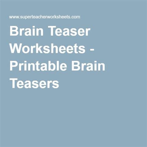 Printable Brain Teasers For