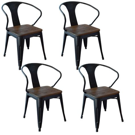 amerihome black metal wood dining chair set of 4