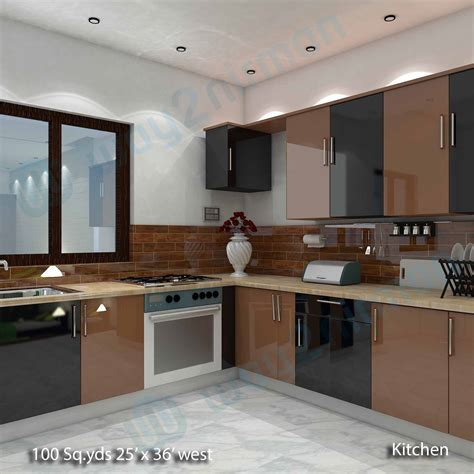 Interior Designing Kitchen Way2nirman 100 Sq Yds 25x36 Sq Ft West House 2bhk Elevation View Kitchen Interior Designs