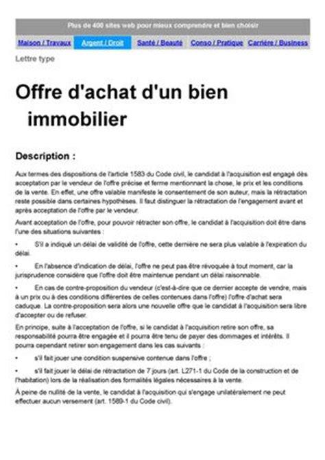Exemple De Lettre Offre D Achat Immobilier Lettre Offre D Achat Maison