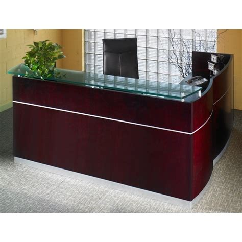 Mayline Wood Veneer Napoli L Shape Reception Desk With Reception Desk Glass