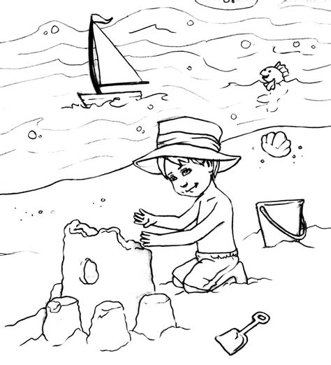 free printable beach scenes kids coloring europe