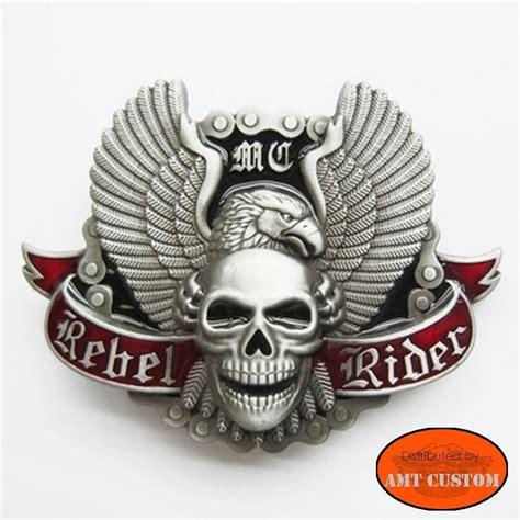motor skull boucle bikers skull rebel rider eagle wings amt custom shop