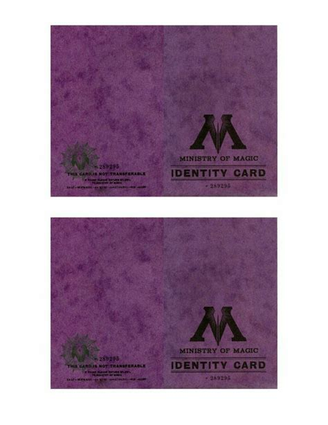 ministry of magic identity card template minist 232 re de la magie notre univers harry potter