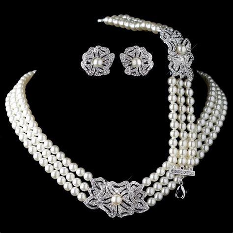 rhodium ivory pearl rhinestone necklace bracelet vintage