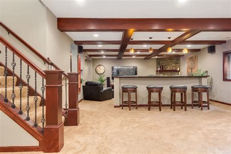 Home Bar Decor Ideas basement stairs and knee wall traditional basement