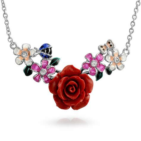 Red Resin Rose CZ Enamel Flower Station Necklace Sterling