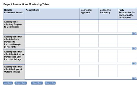 Project Monitoring And Evaluation Template project assumptions monitoring template optional