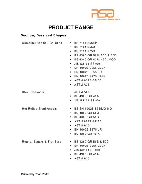 section 43a regency steel asia product catalogue