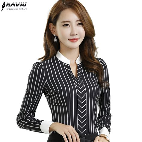 Blouse Stripe V Hijau new ol fashion v neck stripe blouses slim formal sleeve chiffon shirt office