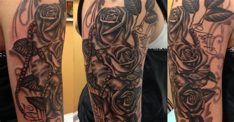 tattoo lettering backgrounds black and grey roses pearls fillagree background