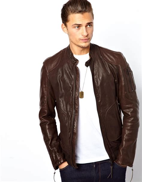 mens leather bomber asos replay leather bomber jacket in brown for lyst