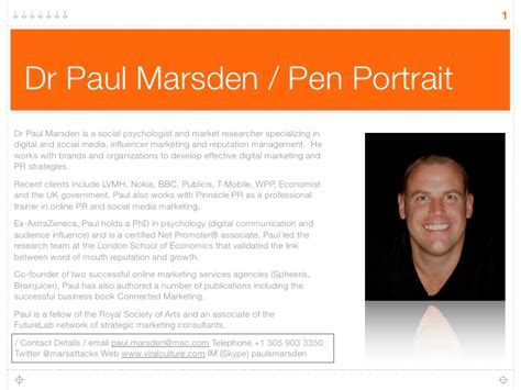 The Best Resume Template by Paul Marsden Pen Portrait