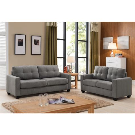 grey sofa and loveseat set modern 2 grey tufted sofa and loveseat set