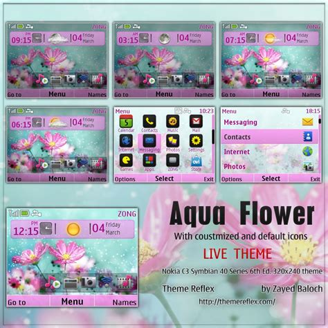 nokia c3 london themes aqua flower live theme for nokia c3 x2 01 themereflex
