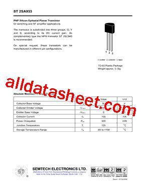 transistor a933 datasheet st2sa933 datasheet pdf semtech electronics ltd