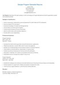 Program Specialist Sle Resume by Resume Sles Sle Program Specialist Resume