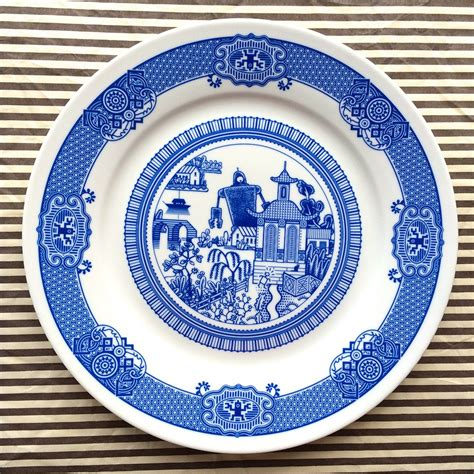 Porcelain Plate calamityware cataclysmic scenarios on traditional blue