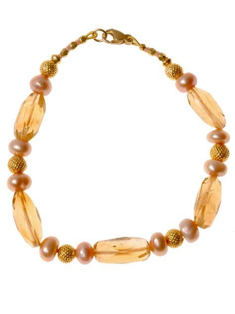 Citrine And Pearl Bead Bracelet