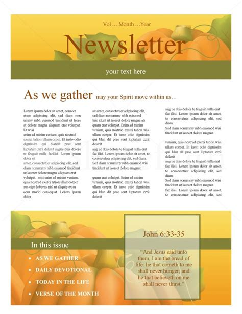 harvest time church newsletter template newsletter templates
