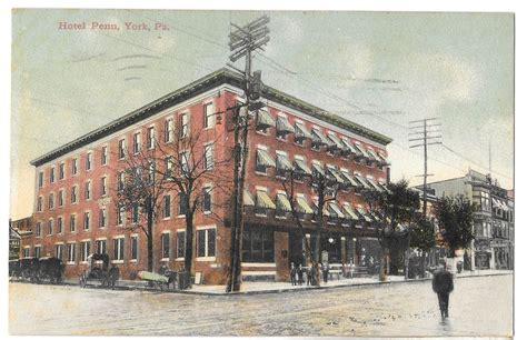 york pa hotel penn telephone poles vintage postcard 1910