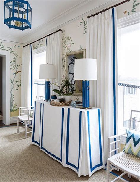 White Curtains With Blue Trim White Curtains Blue Trim