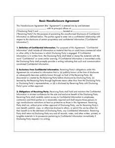 basic non disclosure agreement template 10 best images of basic non disclosure agreement simple