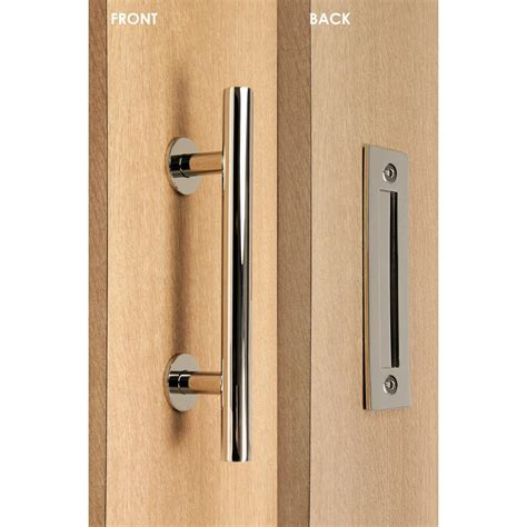 Barn Door Handle Strongar Contemporary 12 In Polished Chrome Ladder Pull And Flush Sliding Barn Door Handle Sh