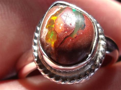 matrix opal ring multicolor matrix mexican opal silver ring size 8 25