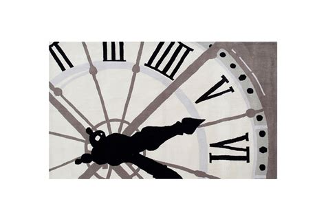 5 x8 clock rug ivory black