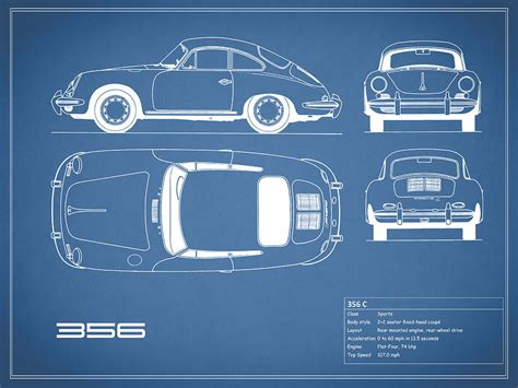 Online Home Decor by Porsche 356 C Blueprint Photograph By Mark Rogan