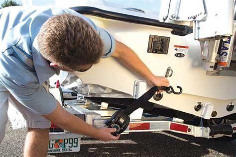 boat ratchet straps trailer frame trailering boatus magazine