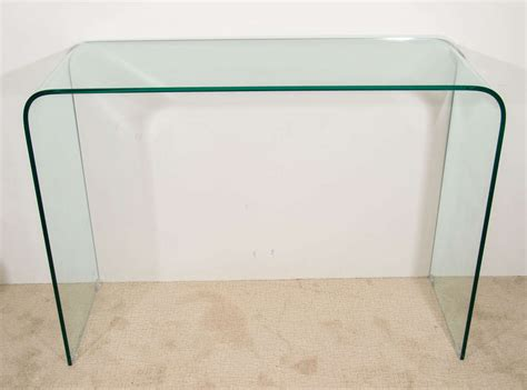 glass sofa tables modern glass quot waterfall quot console or sofa table at 1stdibs