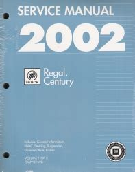 2002 buick regal century factory service manual 3 vol set