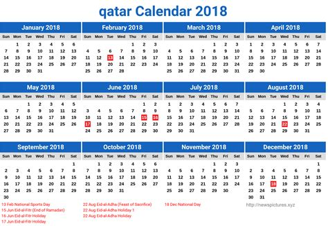 Printable Calendar 2018 Qatar | free calendar 2018 qatar printable newspictures xyz