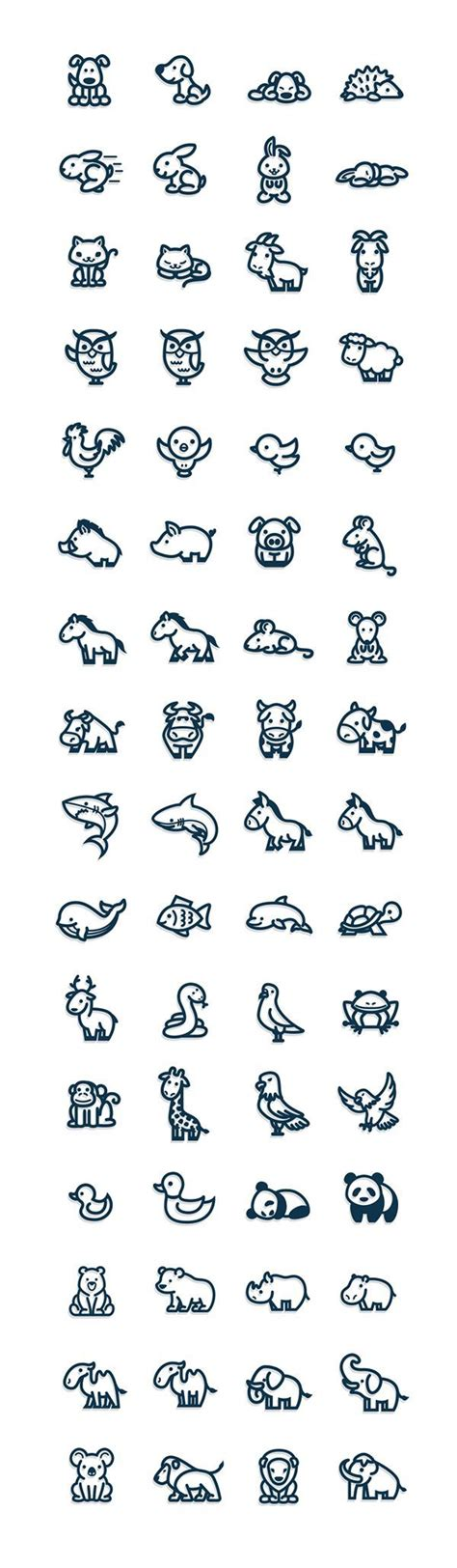 simple animal tattoos and easy vectorial animal icons awesome