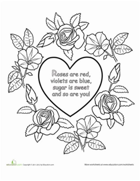 colored red rose colouring pages roses are red nursery rhyme coloring page education com